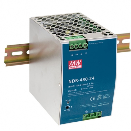 NDR 480 A 450x450 - منبع تغذیه NDR-480-48 - din-rail, meanwell, edr -
