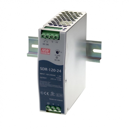 SDR 120 A 450x450 - منبع تغذیه SDR-120-24 - sdr, din-rail, meanwell -