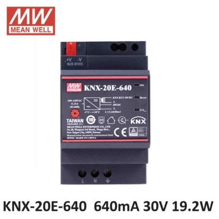 Original MEAN WELL KNX 20E 640 SMPS 640mA 30Vdc 19 2W Din rail meanwell KNX Power 450x450 - KNX-20E-640 - meanwell, knx -