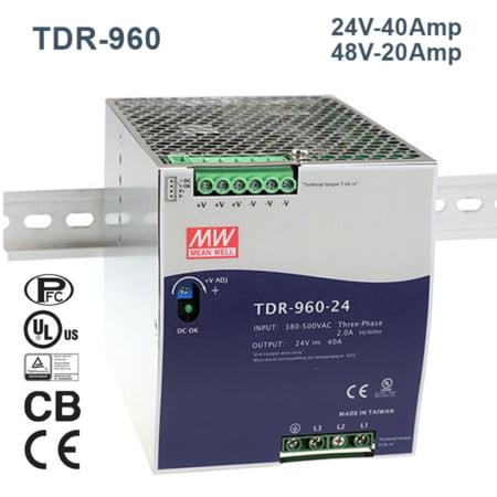 TDR 960 240@MEANWELLIRAN.COM 450x450 - منبع تغذیه TDR-960-24 - din-rail, meanwell, tdr-series -