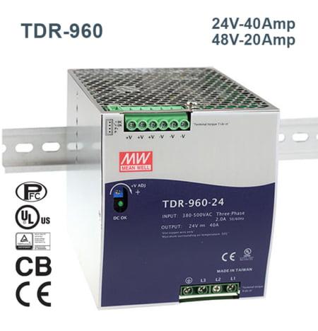 TDR 960 240@MEANWELLIRAN.COM  450x468 - منبع تغذیه TDR-960-24 - din-rail, meanwell, tdr-series -